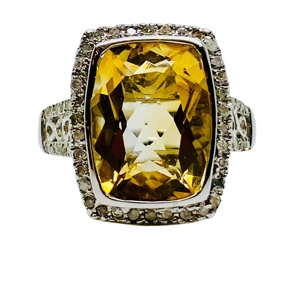 14K white gold Citrine and Diamond Ring - image 1