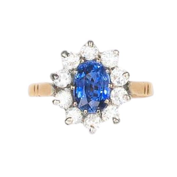 A 1950s Sapphire and Diamond Cluster Ring - image 1
