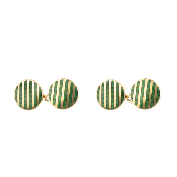 A pair of Gold and Green Enamel Stripe Cufflinks - image 1