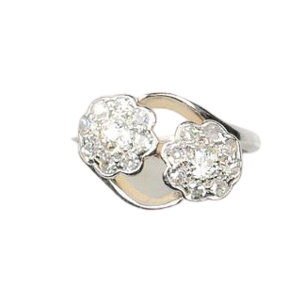 An antique double Daisy Diamond Ring - image 1