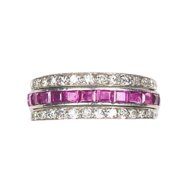 An Art Deco Sapphire Ruby and Diamond Night and Day Flip Ring - image 1