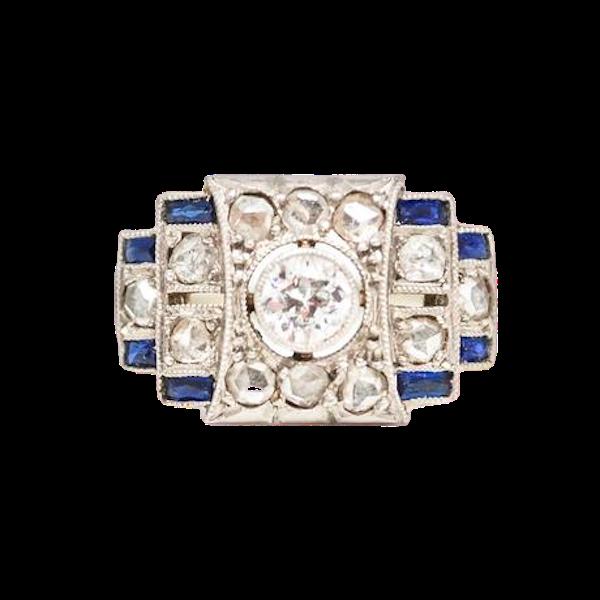 An Art Deco Sapphire and Diamond Ring - image 1