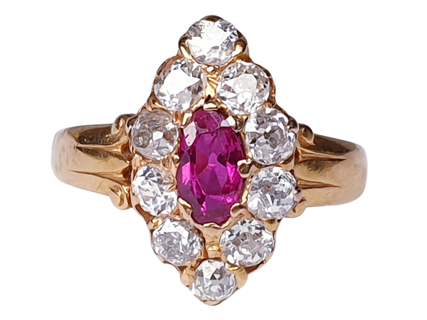Burmese Ruby and Old Cut Diamond Marquise Shaped Ring  DBGEMS - image 1