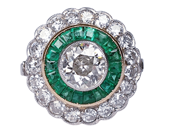 Emerald and Diamond Target Engagement Ring  DBGEMS - image 1