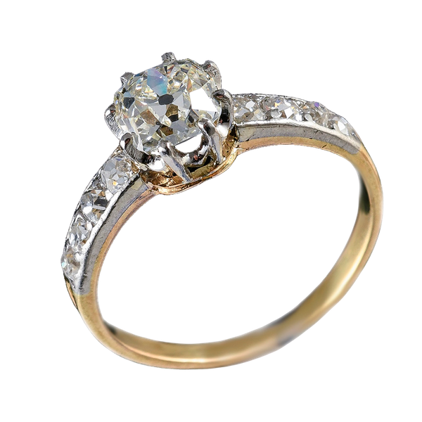 MM6506r Edwardian 1.04ct yellow gold platinum diamond single stone ring - image 1