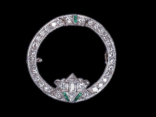 Art Deco Emerald and Diamond Brooch  DBGEMS - image 1