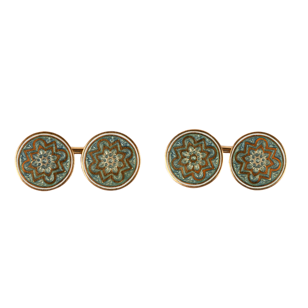 Edwardian 18 Carat Gold Cufflinks with Celtic Pattern in Enamel, English circa 1900. - image 1