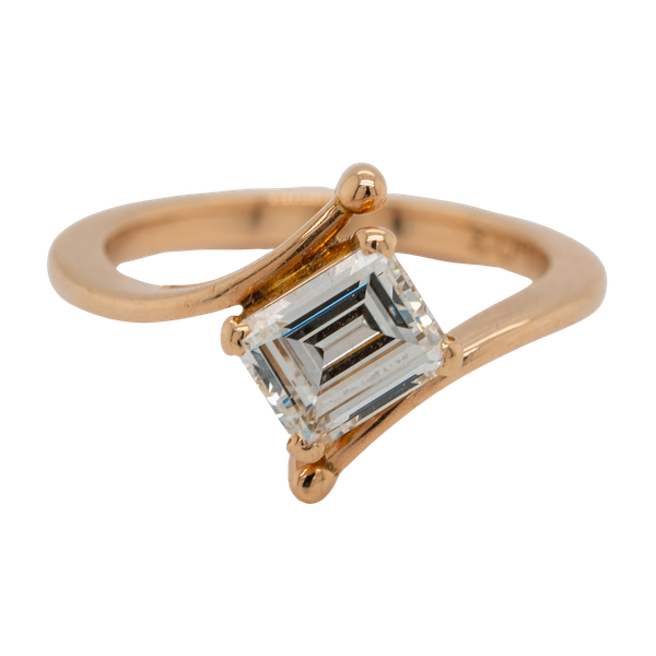 Rose gold emerald cut diamond solitaire  ring with certificate - image 1