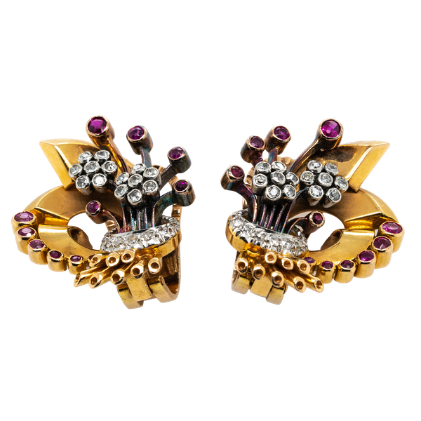 Diamond and ruby  clip earrings - image 1