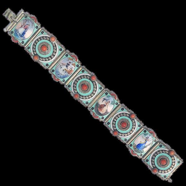 An Austrian Silver and Enamel Panel Bracelet - image 1