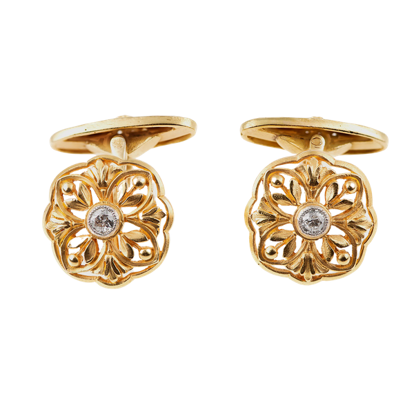Art Nouveau Cufflinks Single Sided in 18 Karat Gold Floral Openwork & Central Diamond, French circa 1890. - image 1