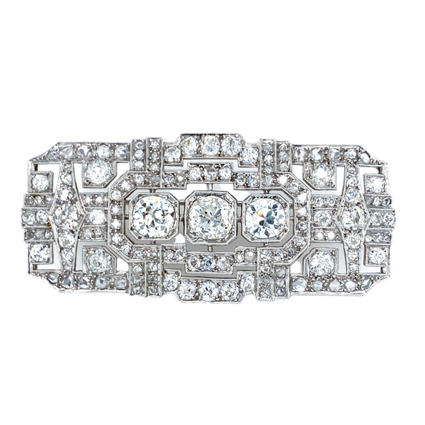 Art Deco platinum tablet diamond brooch Diamonds total 13 ct est. - image 1