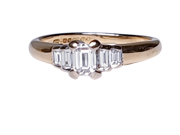 Vintage Emerald Cut and Baguette Diamond Engagement Ring  DBGEMS - image 1