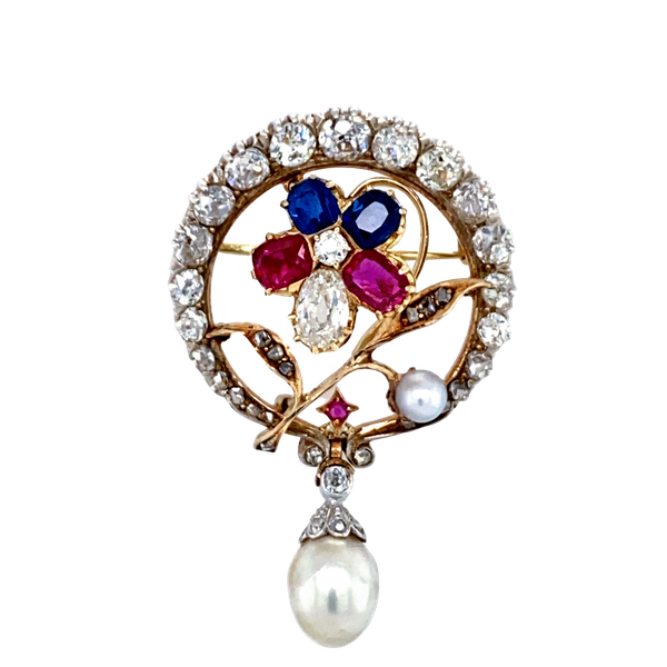 Antique  multi-gem and pearl pendant brooch - image 1