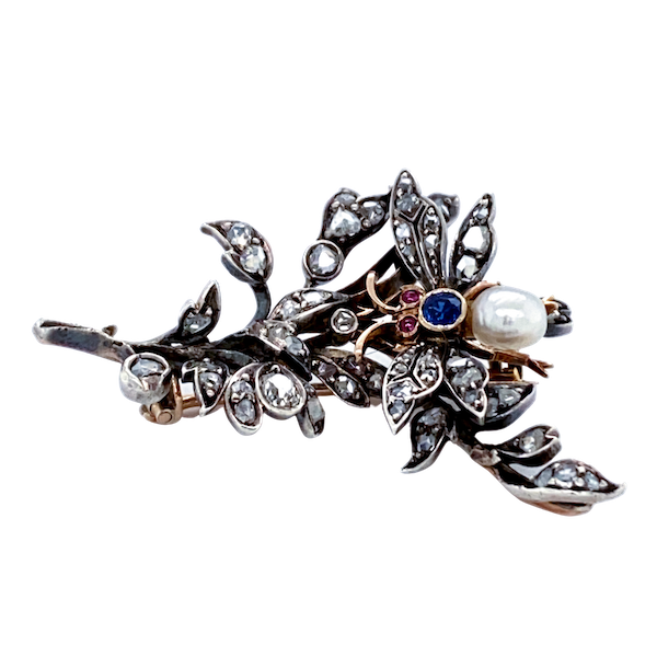 "Antique diamond, ruby, sapphire and pearl naturalistic ""bug on branch"" brooch - image 1"