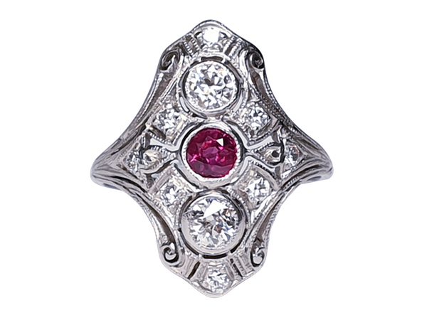 Art deco ruby and diamond ring  DBGEMS - image 1