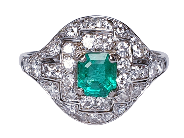 Art Deco Emerald and Diamond Ring  DBGEMS - image 1