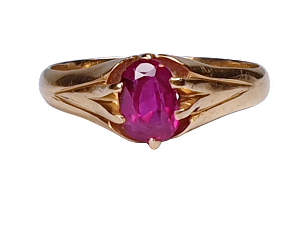 Single Stone Burmese Ruby Ring  DBGEMS - image 1