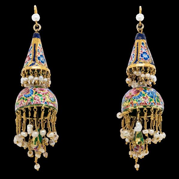 Qajar Long drop Earrings - image 1