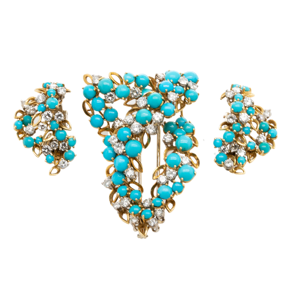 Turquoise Clip & Earring Set - image 1