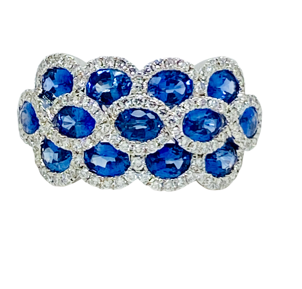 14K white gold 3.00ct Natural Blue Sapphire and 1.00ct Diamond Ring. - image 1