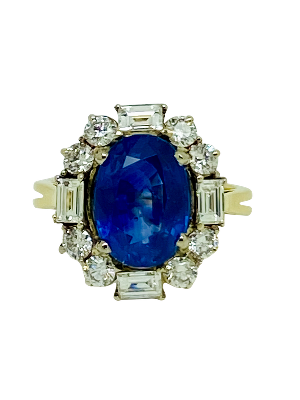 18K yellow gold 4.86ct Natural Blue Sapphire and 1.00ct Diamond Ring - image 1