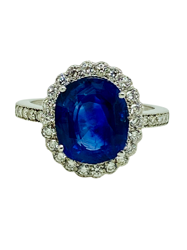 18K white gold 5.46ct Natural Blue Sapphire and Diamond Ring - image 1