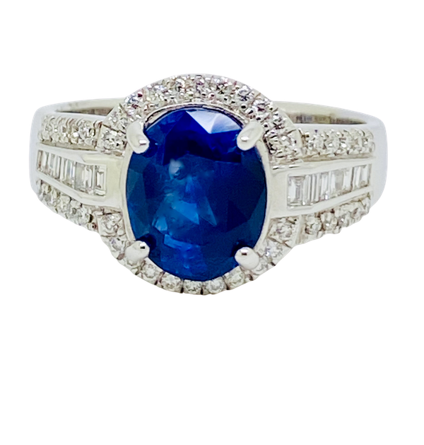 18K white gold 3.05ct Natural Blue Sapphire and 0.49ct Diamond Ring - image 1