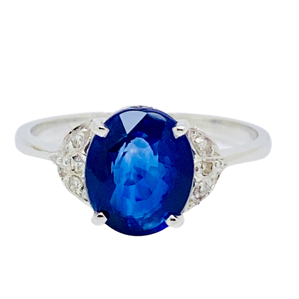 Platinum 2.64ct Natural Blue Sapphire and Diamond Ring - image 1