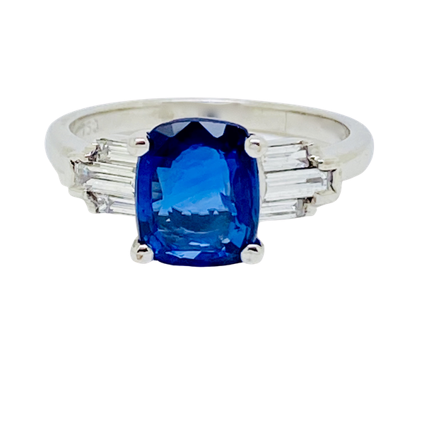 18K white gold 2.54ct Natural Blue Sapphire and 0.45ct Diamond Ring - image 1