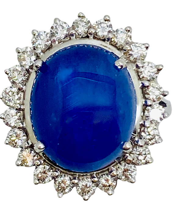 18K white gold 11.90ct Natural Cabochon Blue Sapphire and Diamond Ring - image 1