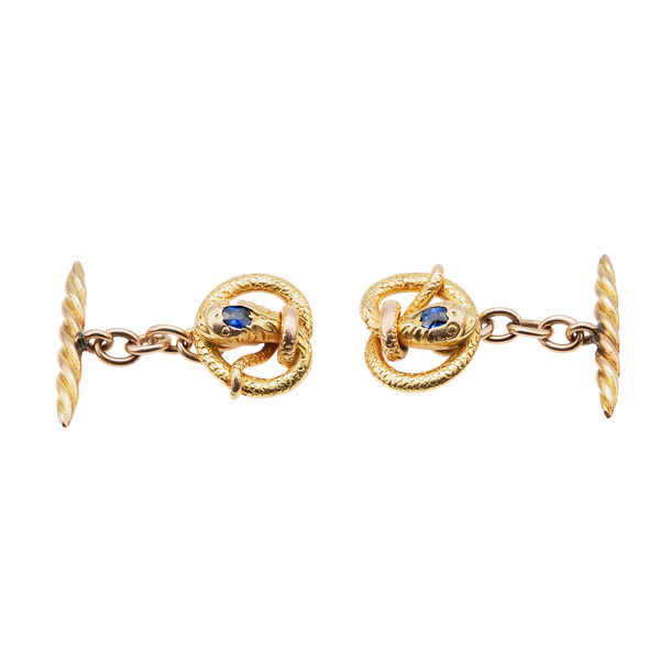 Antique Cufflinks in 14 Karat Gold of a Coiled Serpent with Sapphire Centre, American circa 1890. - image 1