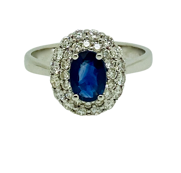 18K white gold 0.72ct Natural Blue Sapphire and 0.59ct Diamond Ring - image 1