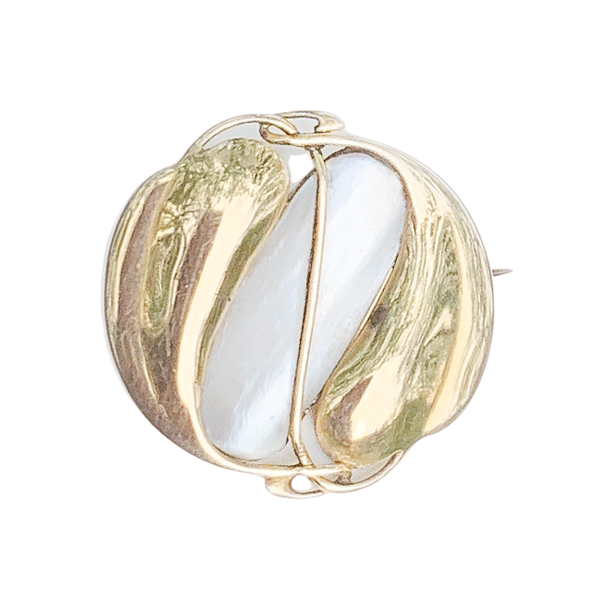 A Gold and Mother of Pearl Brooch by Archibald Knox - image 1