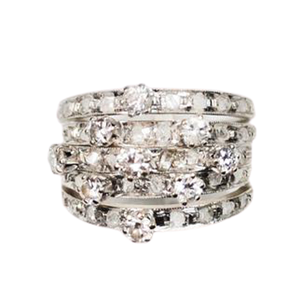 A 1920s Diamond and Platinum Harem Ring - image 1