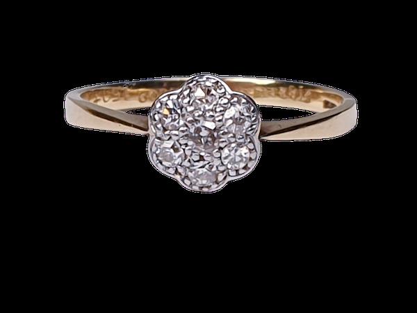 Edwardian Diamond Cluster Ring 1948   DBGEMS - image 1