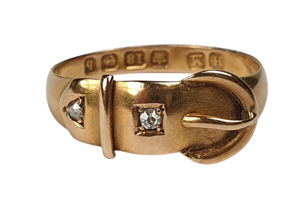 Victorian 18ct Gold and Diamond Buckle Ring  DBGEMS - image 1
