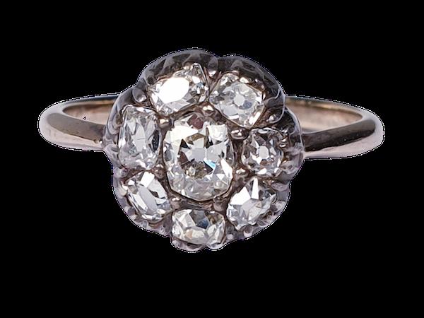 Antique Diamond Cluster Ring  DBGEMS - image 1