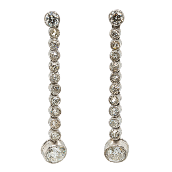 Long Drop Diamond Earrings - image 1
