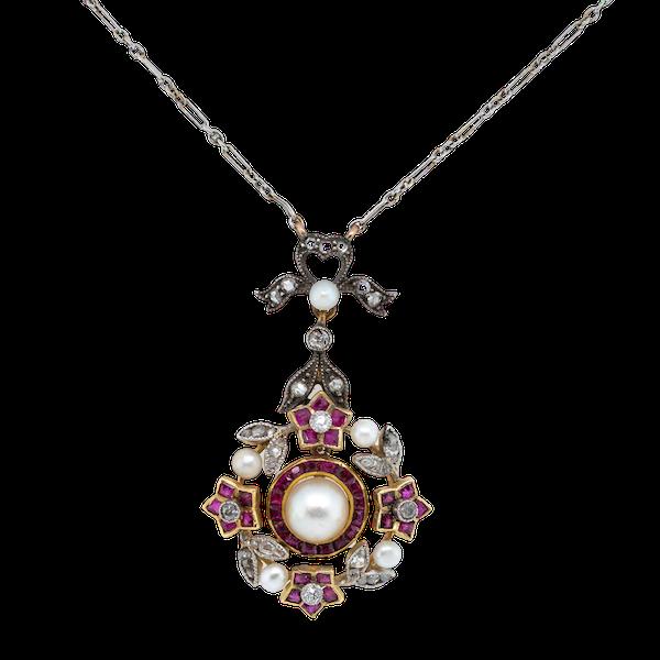 Ruby Diamond & Pearl Pendant - image 1