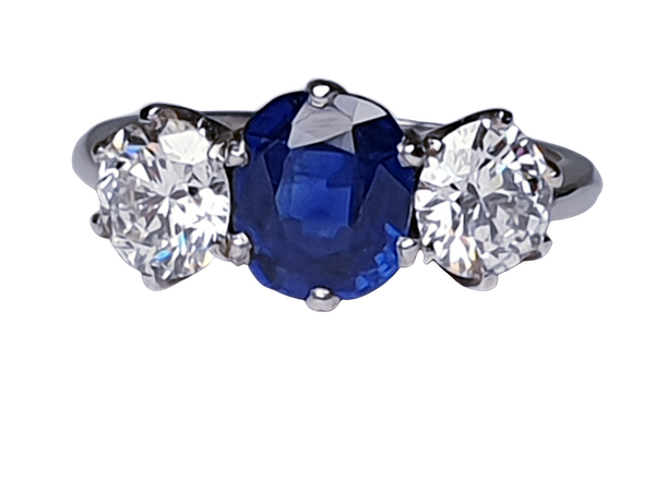 1.52ct natural Burmese sapphire and diamond ring  DBGEMS - image 1
