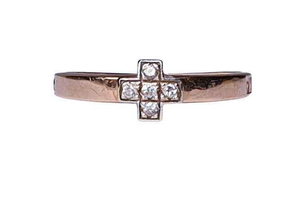 Antique Russian Diamond Prayer Cross Ring  DBGEMS - image 1