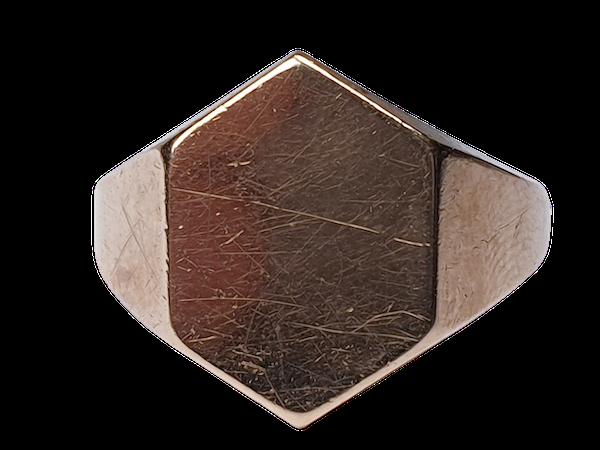 Hexagonal Gold Signet Ring  DBGEMS - image 1