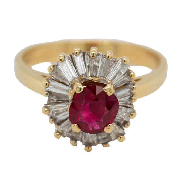 Ruby and diamond ballerina cluster ring - image 1