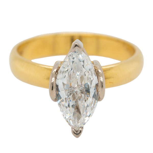 Marquise shaped  diamond solitaire ring - image 1