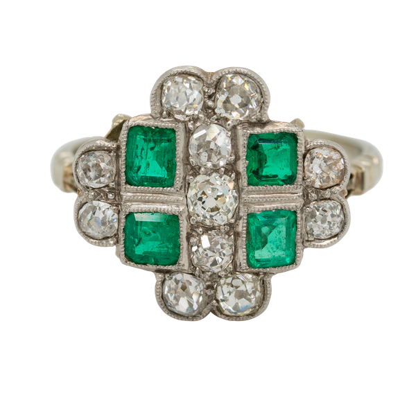 Emerald and diamond tablet shape Art Deco cluster ring - image 1