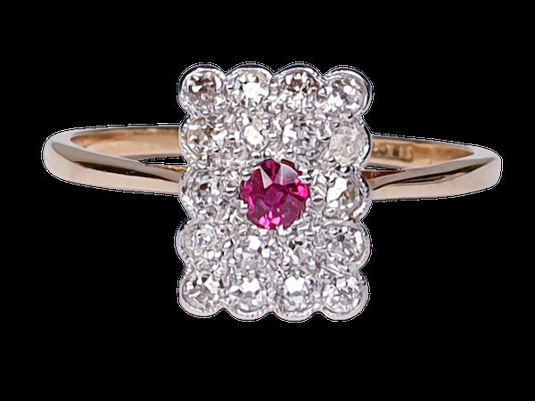 Edwardian Ruby and Diamond Panel Ring  DBGEMS - image 1