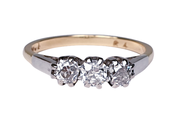 Antique Three Stone Diamond Engagement Ring  DBGEMS - image 1