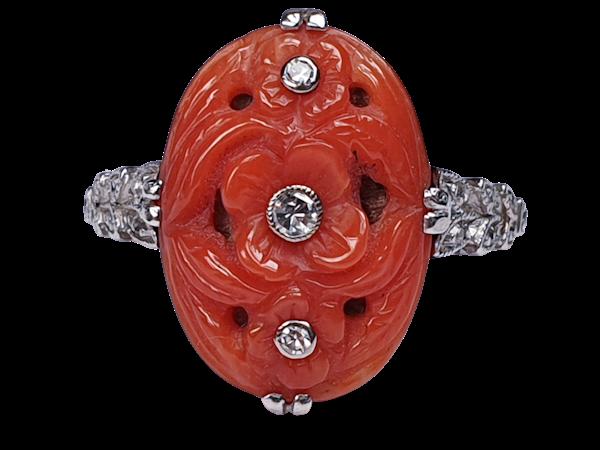 Art Deco Coral & Diamond Ring  DBGEMS - image 1