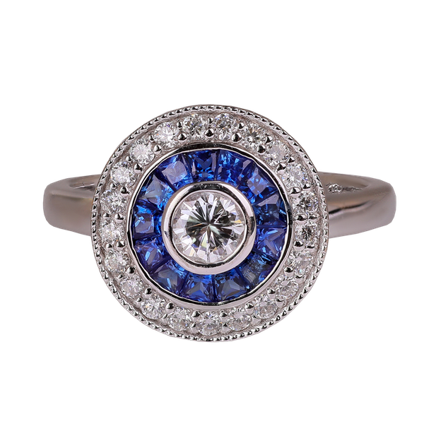 Art deco style sapphire and diamond ring - image 1